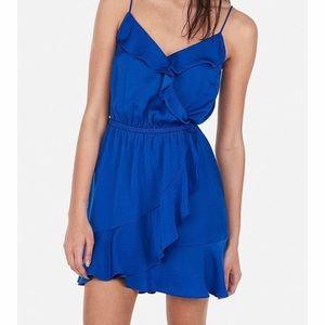Japna Mini Electric Blue Ruffle Wrap Dress - M/ L